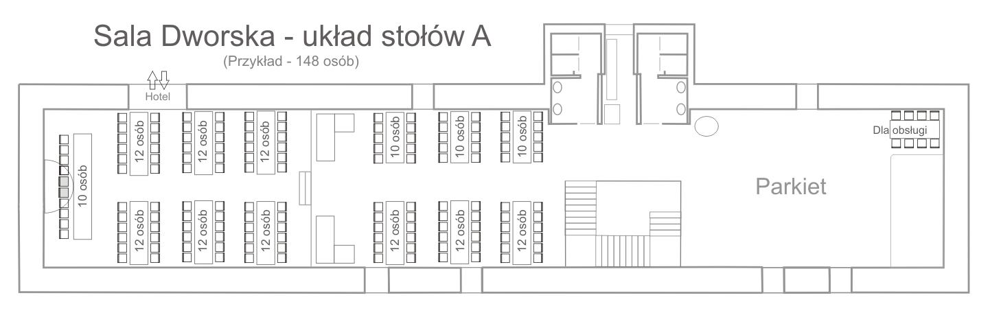 Schemat rozmieszczenia stołów - Sala Dworska