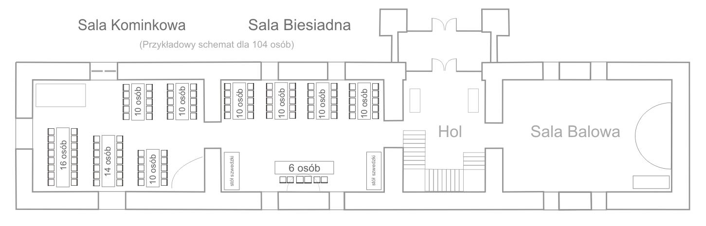 Schemat stołów - Restauracja Folwark Stara Winiarnia - poziom dolny