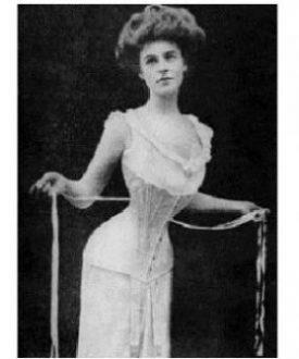 Historia bielizny damskiej - aktorka Camille Clifford w gorsecie