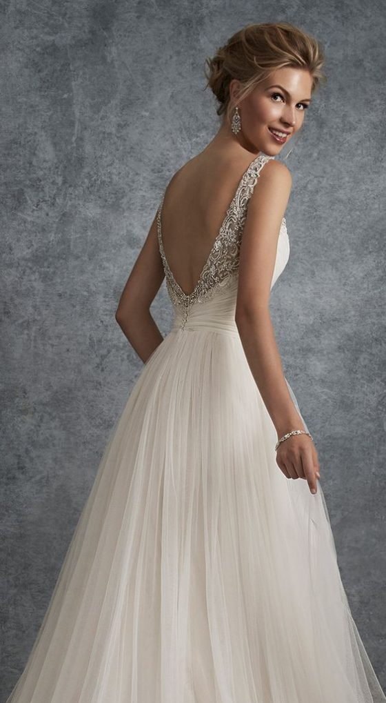 moncheri bridals Sleeveless Soft Tulle ALine Gown Y21755