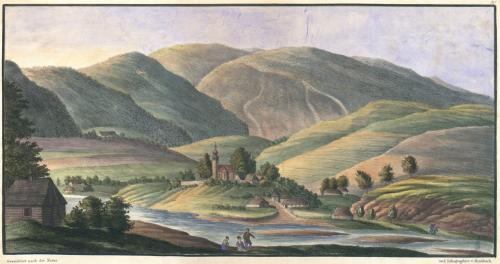 Mszana Dolna wg sztychu E. von Kronbacha z 1820 r.