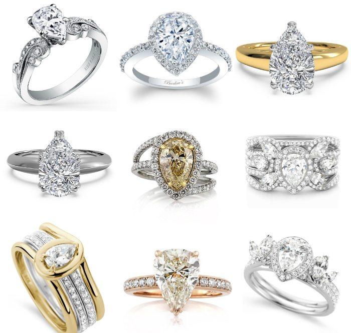 pierścionek zaręczynowy - łezki